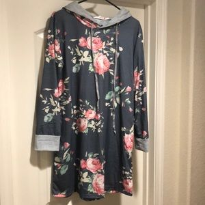 Tops - Floral Tunic Hoodie XL